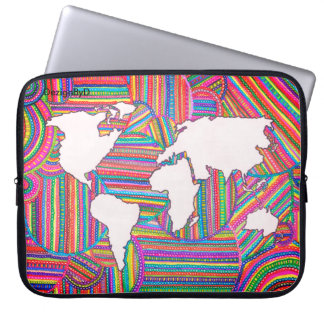 map of the world computer sleeve