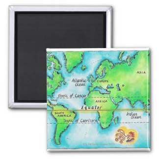Map of the World & Equator Square Magnet