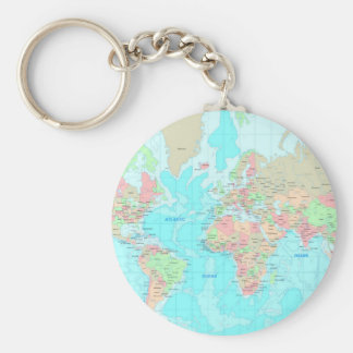 Map of the world keychain