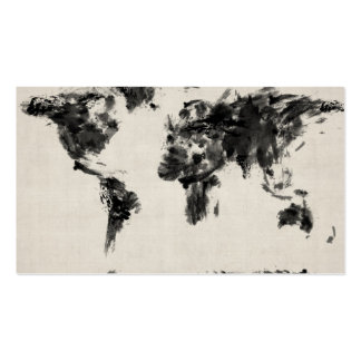 Map of the World Map Dark Abstract Painting Pack Of Standard Business Cards