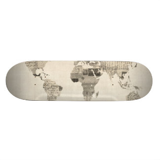 Map of the World Map from Old Postcards Skate Decks