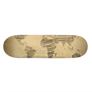 Map of the World Map from Old Sheet Music Skateboard Decks
