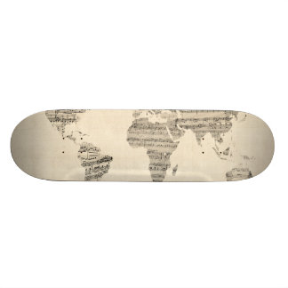 Map of the World Map from Old Sheet Music Skateboards