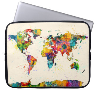 Map of the World Map Watercolor Laptop Sleeve