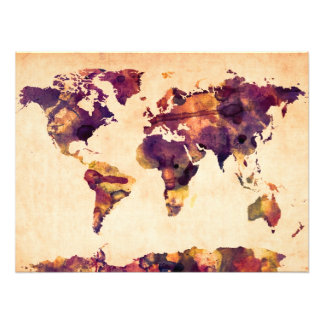 Map of the World Map Watercolor Painting Photo Print
