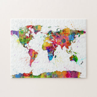 Map of the World Map Watercolor Puzzles