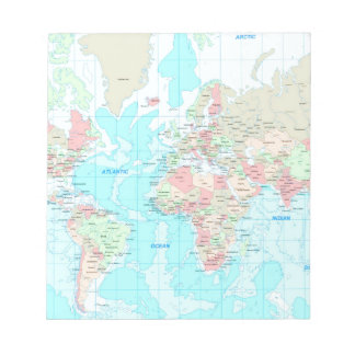 Map of the world notepads