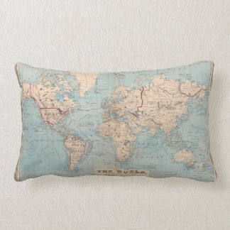 Map of the world on Mercator's projection Lumbar Pillow