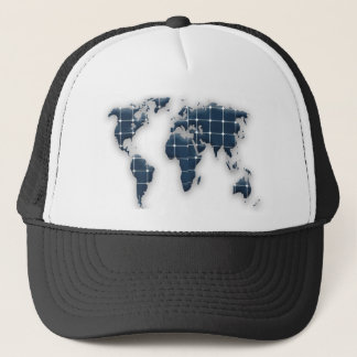 Map of the world with photovoltaic solar panels. trucker hat