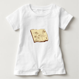 Map of Trail with X Marks The Spot Woodcut Baby Romper