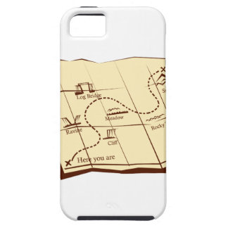 Map of Trail with X Marks The Spot Woodcut iPhone 5 Cases