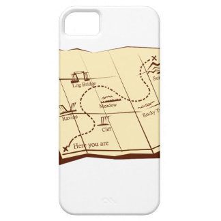 Map of Trail with X Marks The Spot Woodcut iPhone 5 Covers