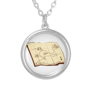 Map of Trail with X Marks The Spot Woodcut Silver Plated Necklace