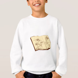 Map of Trail with X Marks The Spot Woodcut Sweatshirt