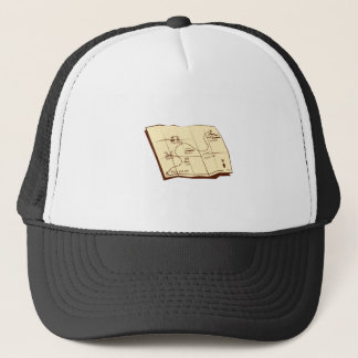 Map of Trail with X Marks The Spot Woodcut Trucker Hat
