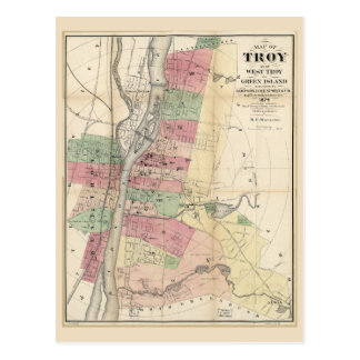 Map of Troy West Troy Green Island New York (1874) Postcard