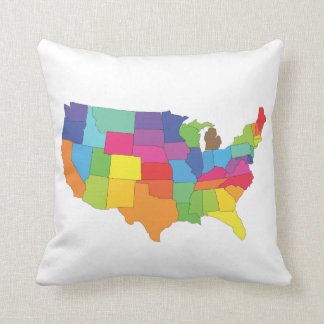 map of united states of america throw pillow