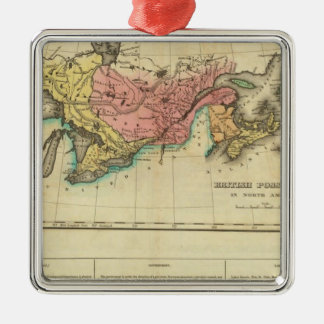 Map Of Upper And Lower Canada Silver-Colored Square Ornament