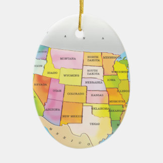 Map of USA States Ceramic Oval Ornament