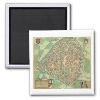 Map of Valencia, from 'Civitates Orbis Terrarum' b Square Magnet