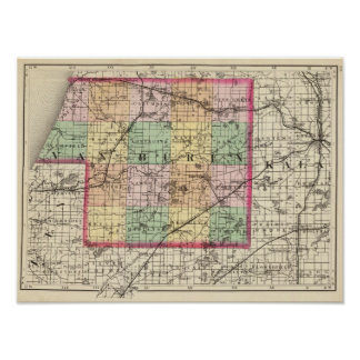 Map of Van Buren County, Michigan Poster