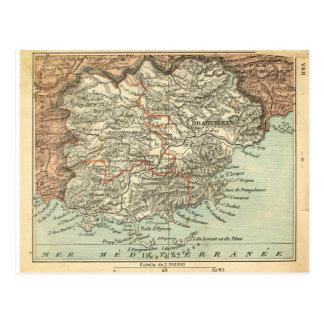 Map of Var region of France in 1860 Postcard