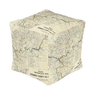 Map of Venango County Oil Regions Cube Pouf