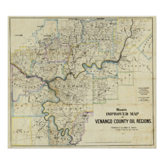 Map of Venango County Oil Regions Poster