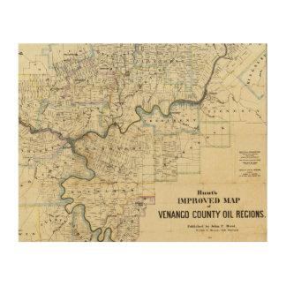 Map of Venango County Oil Regions Wood Print