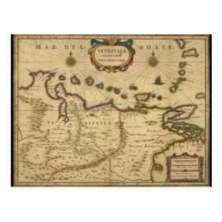 Map of Venezuela by Hendrik Hondius (1630) Postcard