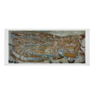 Map of Venice, first half of 17th century (panel) Poster
