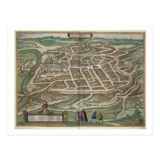 Map of Vilnius, Lithuania, from 'Civitates Orbis T Postcard