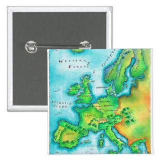 Map of Western Europe 2 Inch Square Button