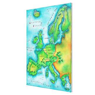 Map of Western Europe Canvas Print
