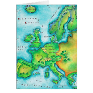 Map of Western Europe Greeting Cards
