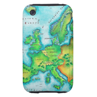 Map of Western Europe Tough iPhone 3 Cover