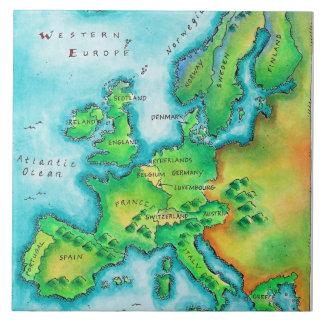 Map of Western Europe Ceramic Tile