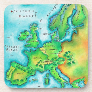 Map of Western Europe Drink Coaster