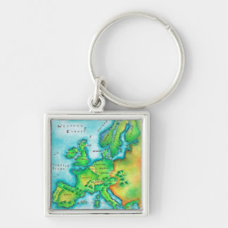 Map of Western Europe Key Chains