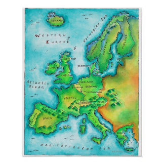 Map of Western Europe Poster