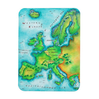 Map of Western Europe Rectangular Photo Magnet