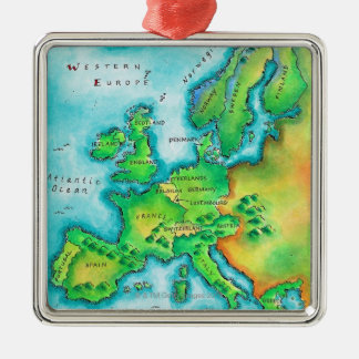 Map of Western Europe Silver-Colored Square Ornament