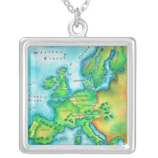 Map of Western Europe Silver Plated Necklace