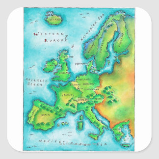Map of Western Europe Stickers