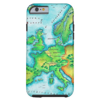 Map of Western Europe Tough iPhone 6 Case
