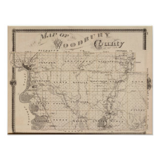 Map of Woodbury County, State of Iowa Poster
