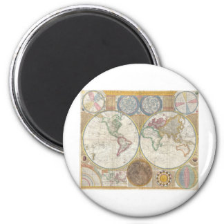 Map of World 2 Inch Round Magnet