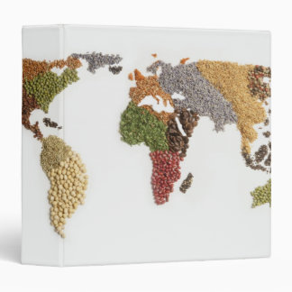 Map of world made of various seeds binders