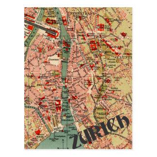 Map of Zurich Postcard
