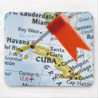 Map pin placed in Havana, Cuba on map, close-up Mouse Pad